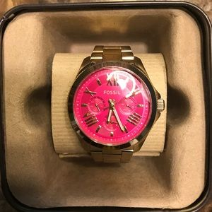 Pink Face Fossil Watch